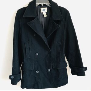 Old navy long button up black pea coat jacket